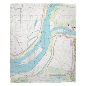 Fletcher Lake, AR; MS River; Lake McKellar, TN (1966) Topo Map Fleece Throw Blanket