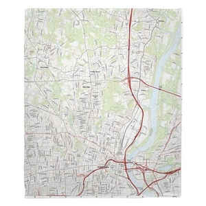 Hartford North, CT Topo Map Fleece Throw Blanket