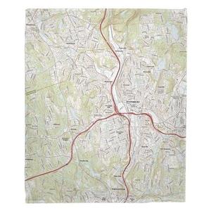 Waterbury, CT Topo Map Fleece Throw Blanket