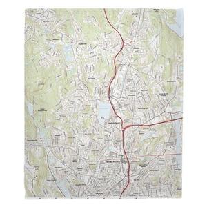 Worcester North, MA Topo Map Fleece Throw Blanket