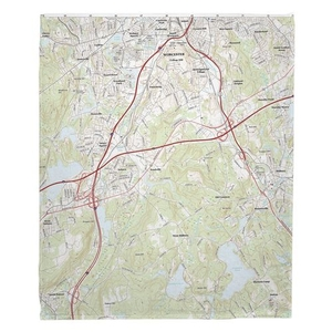 Worcester South, MA Topo Map Fleece Throw Blanket