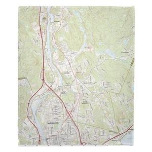 Manchester North, South Hooksett, NH Topo Map Fleece Throw Blanket