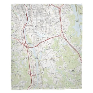 Manchester South, NH Topo Map Fleece Throw Blanket