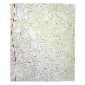 Nashua North, NH Topo Map Fleece Throw Blanket