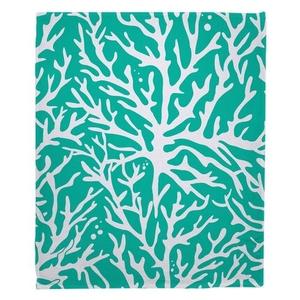 Coral Aqua Fleece Throw Blanket