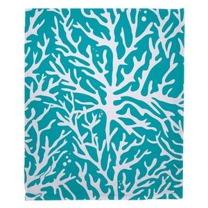 Coral Light Turquoise Fleece Throw Blanket