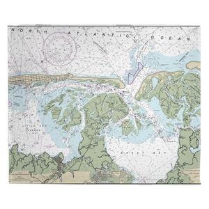 Little Egg Inlet, Great Bay, Little Egg Harbor, NJ Nautical Chart Fleece Throw Blanket
