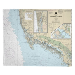 Chatham River to Clam Pass, FL Nautical Chart Fleece Throw Blanket