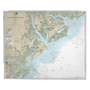 St. Helena Sound to Savannah River, SC-GA Nautical Chart Fleece Throw Blanket