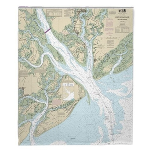 Port Royal Sound, SC Nautical Chart Fleece Throw Blanket