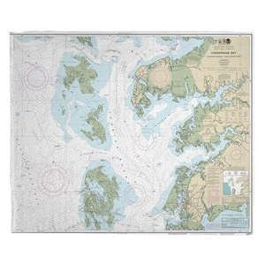 Chesapeake Bay; Tangier Sound Northern, MD-VA Nautical Chart Fleece Throw Blanket