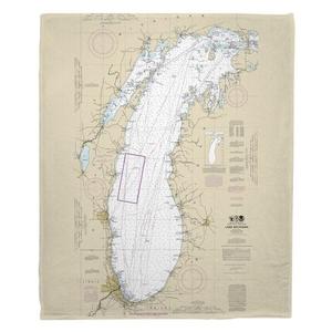Lake Michigan Nautical Chart Fleece Throw Blanket