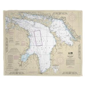 Lake Huron Nautical Chart Fleece Throw Blanket