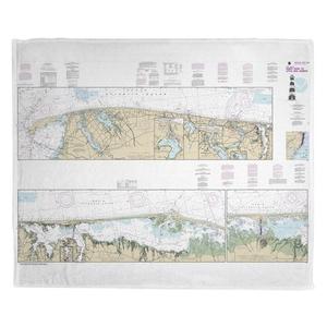 Sandy Hook to Little Egg Harbor, NJ Nautical Chart Fleece Throw Blanket