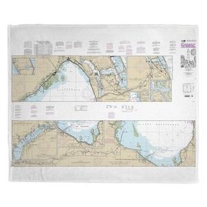 St. Lucie Inlet to Fort Myers, Okeechobee, FL Nautical Chart Fleece Throw Blanket