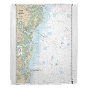 Doboy Sound, GA to Fernandina, FL Nautical Chart Fleece Throw Blanket