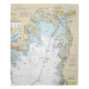 Marion, Wareham, Onset, MA Nautical Chart Fleece Throw Blanket