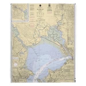 San Pablo Bay, CA Nautical Chart Fleece Throw Blanket