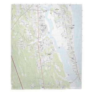 Saint Augustine Beach, FL (2018) Topo Map Fleece Throw Blanket