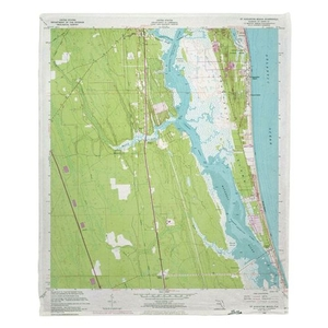 Saint Augustine, FL (1956) Topo Map Fleece Throw Blanket