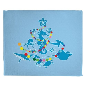 Sea Life Christmas Tree Fleece Throw Blanket