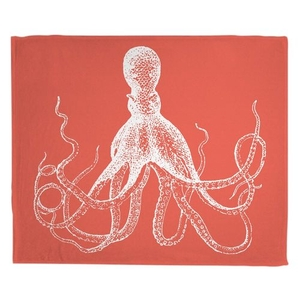 Vintage Octopus Fleece Throw Blanket - White on Coral