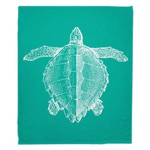 Vintage Sea Turtle Fleece Blanket - White on Aqua
