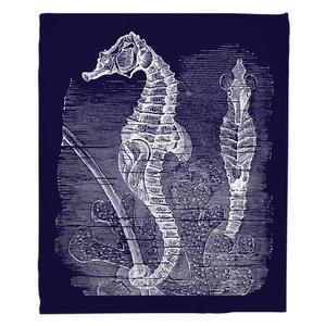 Vintage Seahorse Fleece Throw Blanket - White on Navy
