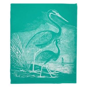 Vintage Egrets Fleece Throw Blanket - White on Aqua