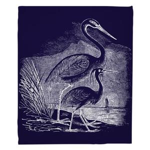 Vintage Egrets Fleece Throw Blanket - White on Navy