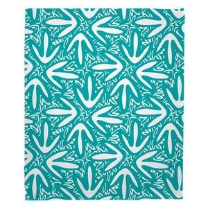 Tribal Lagoon Turquoise Fleece Throw Blanket