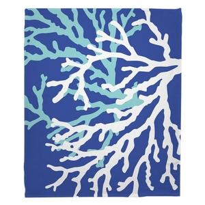 Coral Duo on Cobalt Fleece Throw Blanket