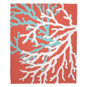 Coral Duo on Coral Fleece Throw Blanket