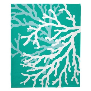 Coral Duo on Aqua Fleece Throw Blanket