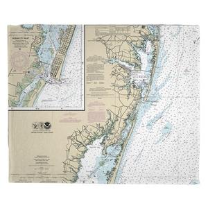 Ocean City, MD Nautical Chart Fleece Throw Blanket