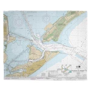 Galveston, TX Nautical Chart Fleece Blanket
