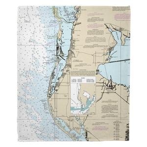Clearwater, FL Nautical Chart Fleece Throw Blanket
