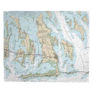 Ramrod, Torch & Big Pine Keys, FL Nautical Chart Fleece Throw Blanket