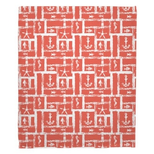 Ocean Squares Coral Fleece Throw Blanket