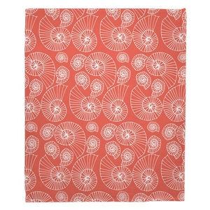 Nautilus Outline Coral Fleece Throw Blanket