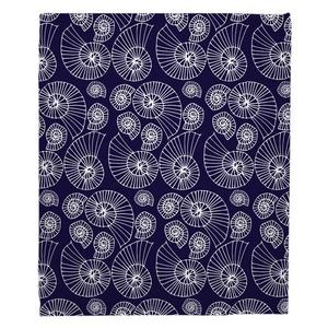 Nautilus Outline Navy Fleece Throw Blanket
