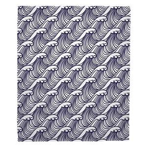 Wave Hello Navy Fleece Throw Blanket