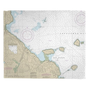 Bar Harbor, ME Nautical Chart Fleece Throw Blanket