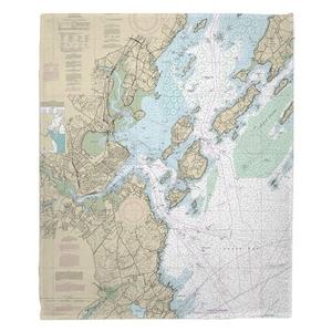 Portland, ME Nautical Chart Fleece Throw Blanket