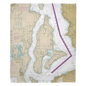Vashon Island, Maury Island, WA Nautical Chart Fleece Throw Blanket