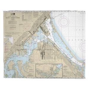 Duluth, MN & Superior, WI Nautical Chart Fleece Throw Blanket