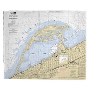 Erie Harbor, Presque Isle, PA Nautical Chart Fleece Throw Blanket