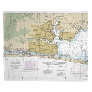 Fort Walton Beach, FL Nautical Chart Fleece Throw Blanket
