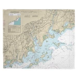 Norwalk, Saugatuck, CT Nautical Chart Fleece Throw Blanket