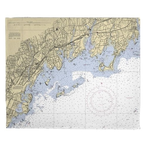 Greenwich, CT Nautical Chart Fleece Throw Blanket